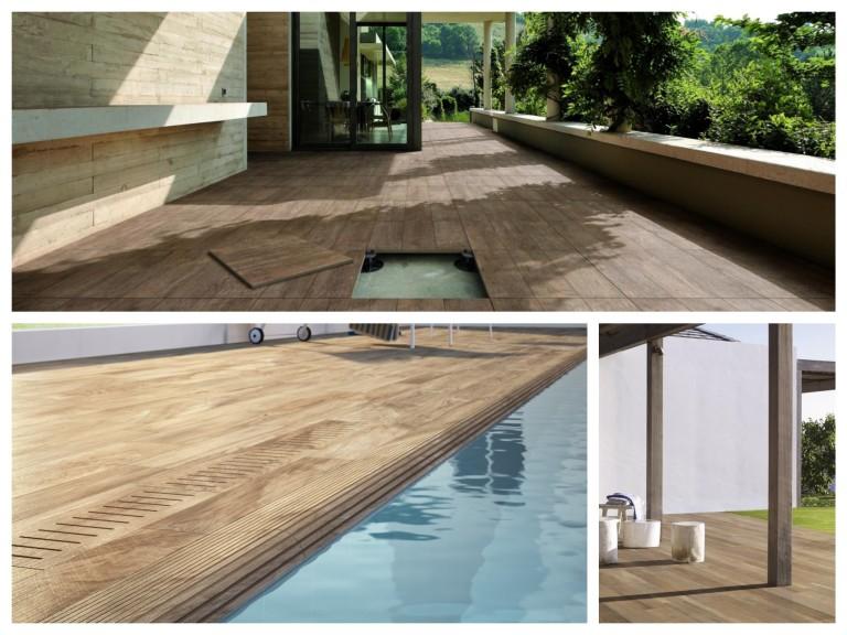 Dlažba v dekoru dřeva venkovní použití na terasu nebo k bazénu