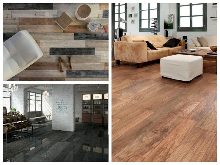 Dlažba v dekoru dřeva - kombinace matného a lesklého povrchu