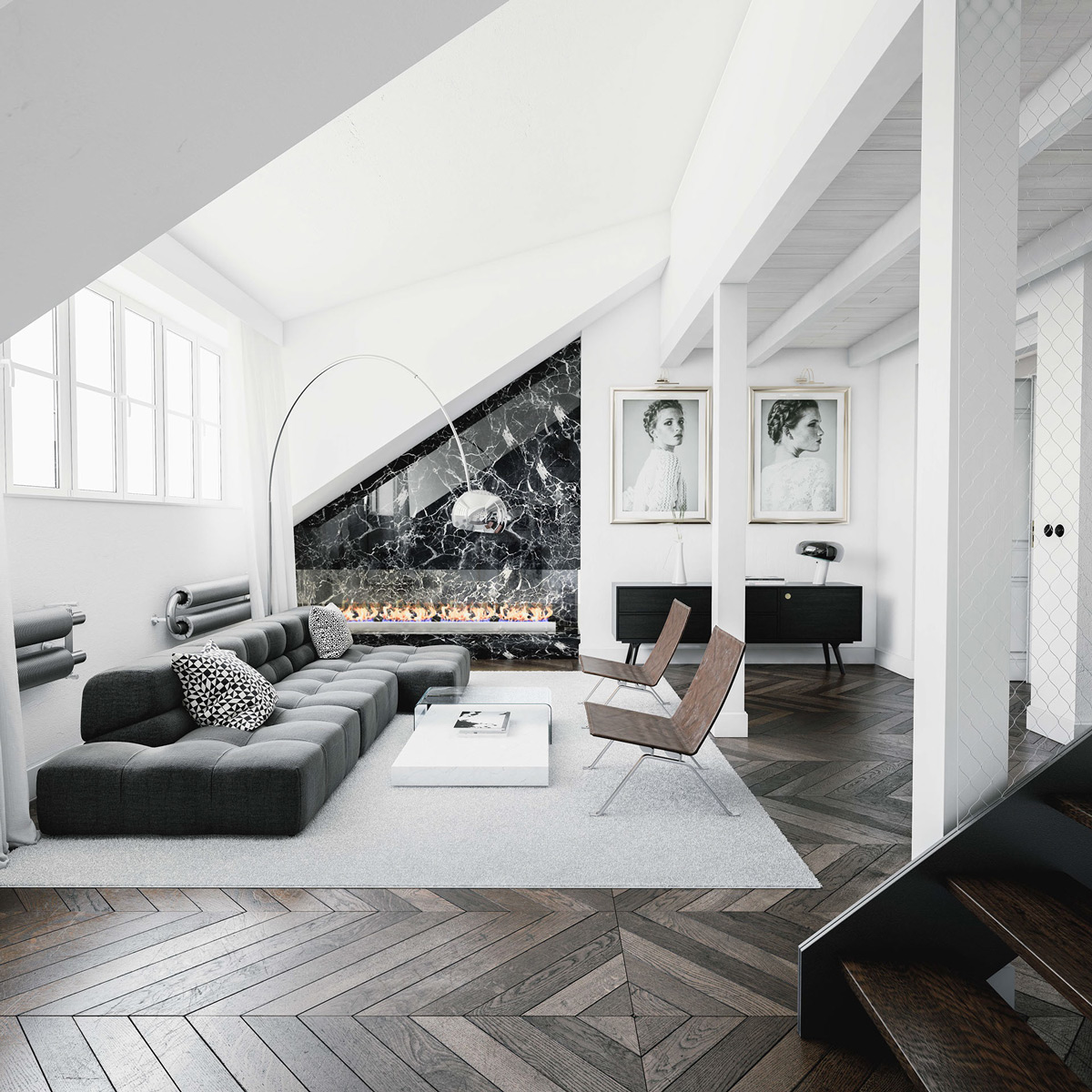 grey-and-black-and-white-living-room-model-portraits-overhanging-lights-wooden-chairs-simple-white-coffee-table-geomtric-flooring-and-ceiling-fireplace
