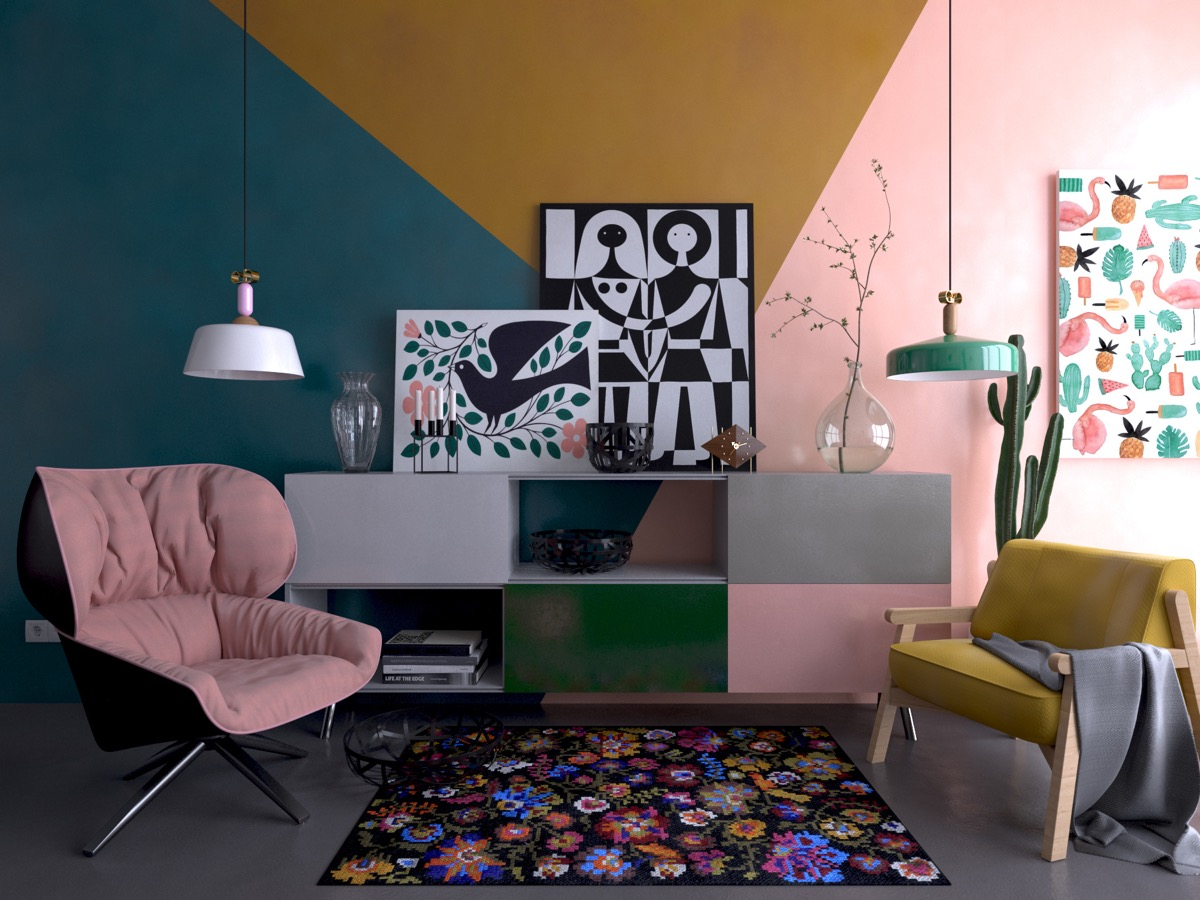 colorful-cabinets-mismatched-chairs-colorful-wall