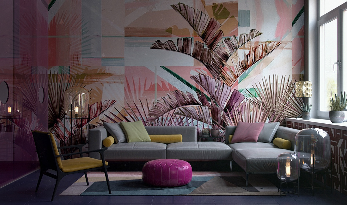 colorful-living-room-abstract-nature-accent-wall