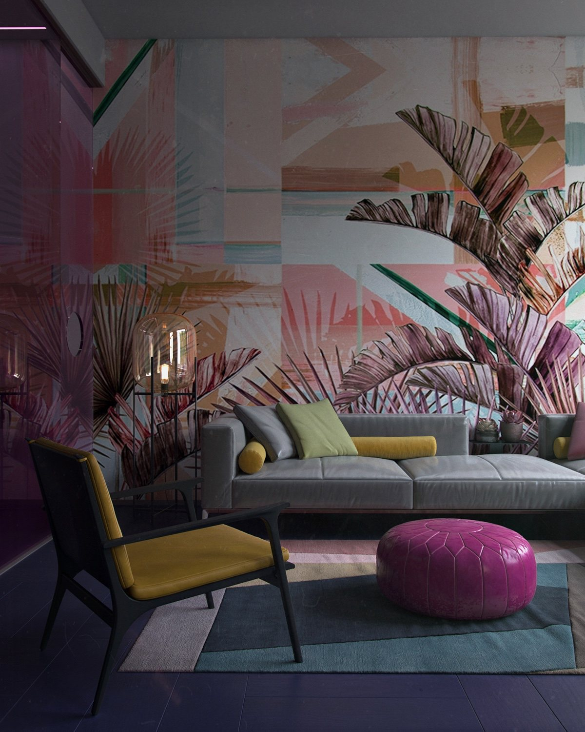 colorful-living-room-sofa-accent-wall