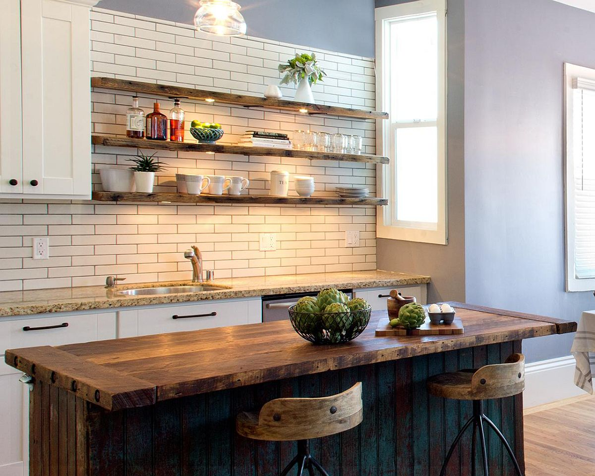 Exquisite-kitchen-with-wooden-shelves-LED-lighting-and-a-rustic-island