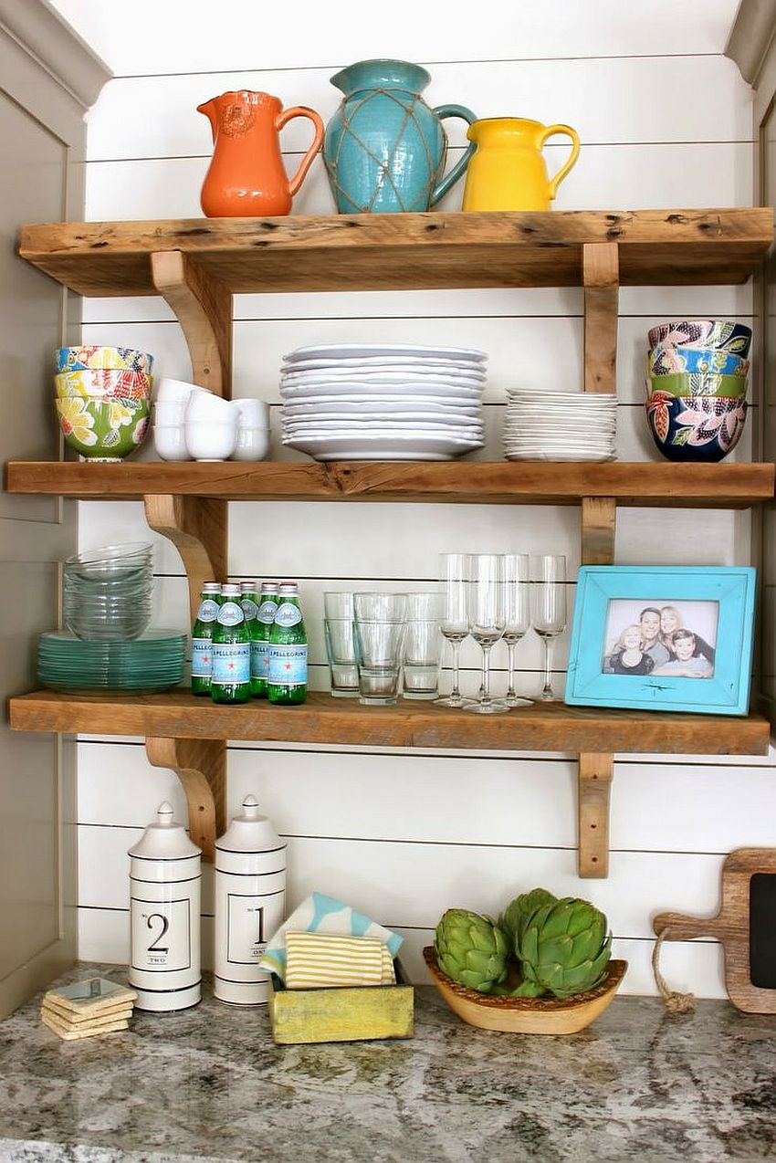 Rustic-wooden-shelves-bring-country-style-to-the-modern-kitchen