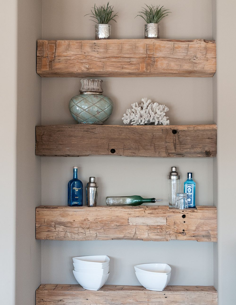 Turn-the-small-niche-in-the-kitchen-into-an-attractive-display-with-DIY-shelves